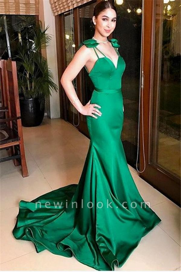 Dark Green Mermaid Alluring Formal Dresses | Open Back Affordable Sleeveless Prom Dress with Bow