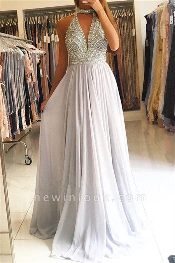 High Neck Crystal A-Line Long Formal Dresses | Sleeveless Affordable Banquet Dresses