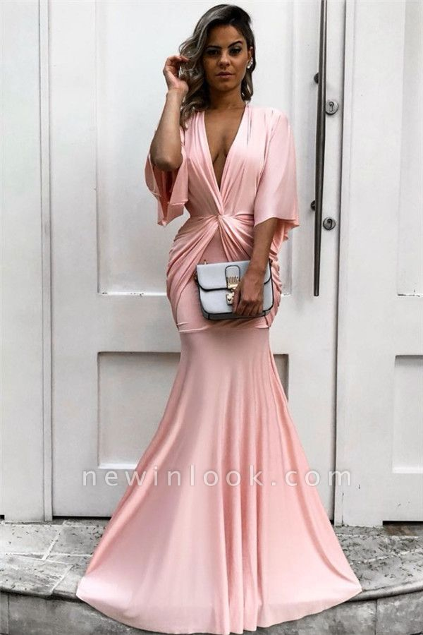 Half Sleeves Plunging V-neck Pink Formal Dresses | Mermaid Affordable Cheap Evening Dresses bc1771