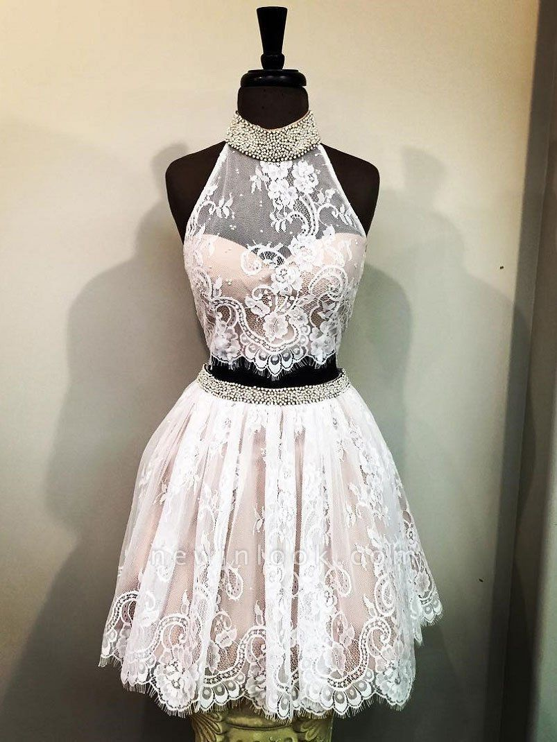 Trendy Quinceanera Two Pieces Dama Dresses | Lace Halter Beading Short XV Dama Dresses