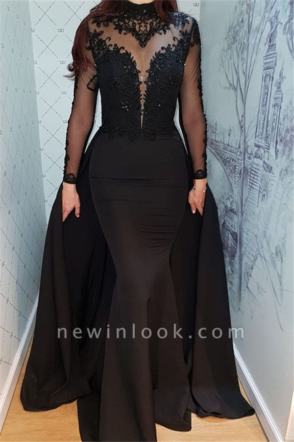 Alluring Timeless Black Long Sleeves Formal Dresses | Elegant Lace High Neck Banquet Dresses with Overskirt BC0526