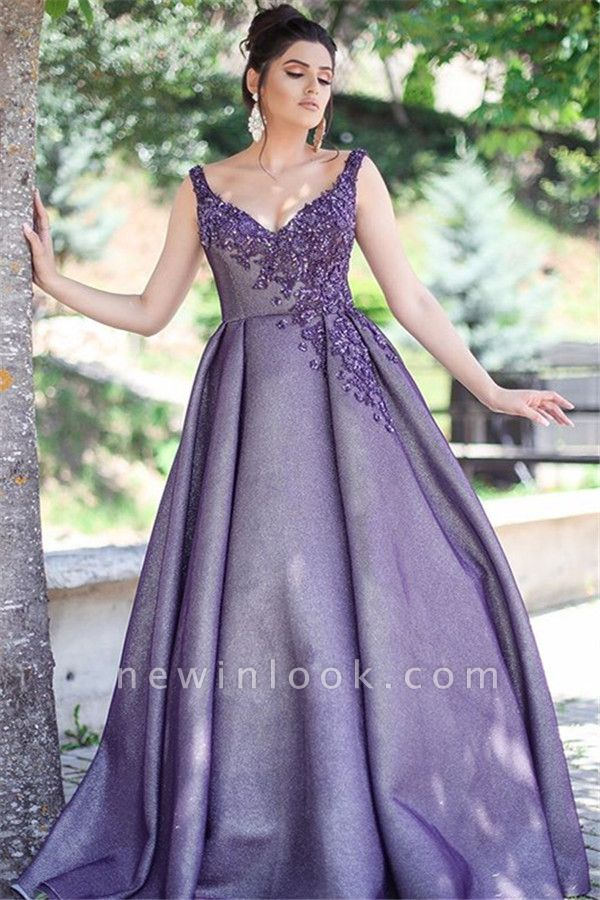 Glamorous Purple Sexy V-Neck Formal Dresses | Affordable Appliques Sleeveless Banquet Dresses with Beading