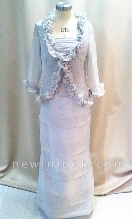 Elegante con gradas de plata gris gasa largo quincea_era vestidos madre | con chaqueta de encargo más tama_o