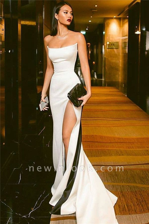 Strapless Alluring Side Slit Formal Dresses Affordable Online | Timeless Black White Sleeveless Affordable Formal Party Dress BC0527