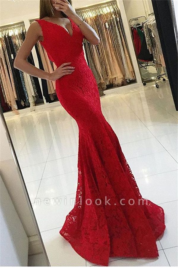 Red Sexy V-Neck Sleeveless Affordable Formal Dresses | Alluring Mermaid Lace Banquet Dresses BC0482