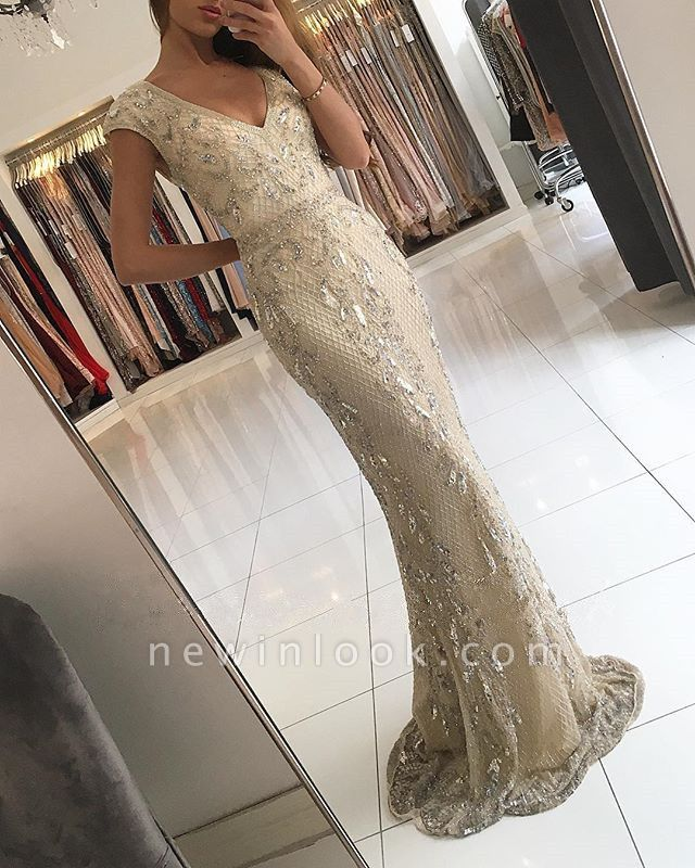 Elegante champán con cuello en v vestidos de noche largos | 2019 encaje sirena cristalino vestidos de baile