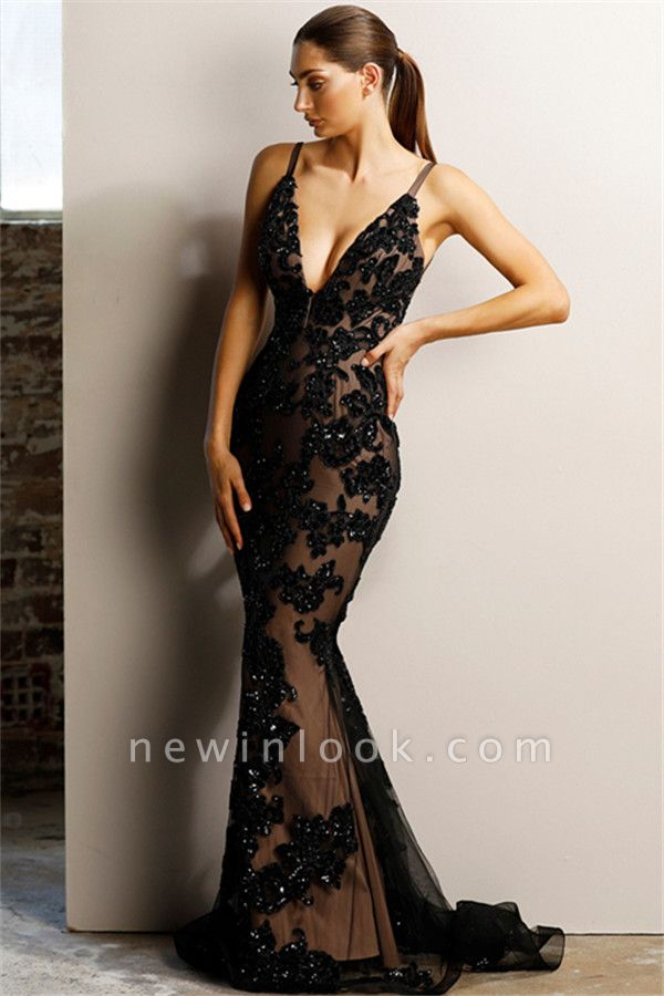 Alluring Timeless Black Sexy V-Neck Banquet Dresses | Affordable Backless Mermaid Formal Dresses Cheap