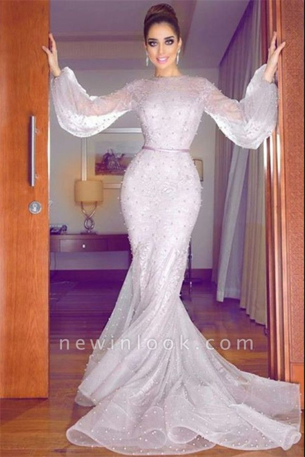 Lavender Bubble Sleeves Fully-covered Beads Formal Dresses | Lace Mermaid Alluring Affordable Banquet Dresses