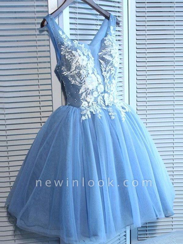 Elegantes vestidos de fiesta cortos azules | Vestidos de cóctel con cordones con cuello en V