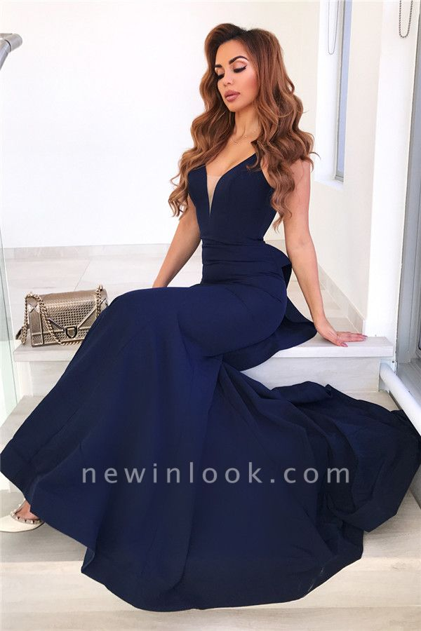 Volantes sin mangas azul marino vestidos de noche 2019 | Sirena sin mangas sexy vestidos de baile baratos bc0458