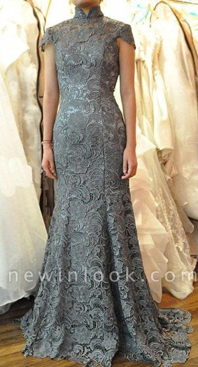 Sexy Mermaid High Collar Lace Quinceanera Mother Dress Short Sleeve Sweep Train Wedding Dress