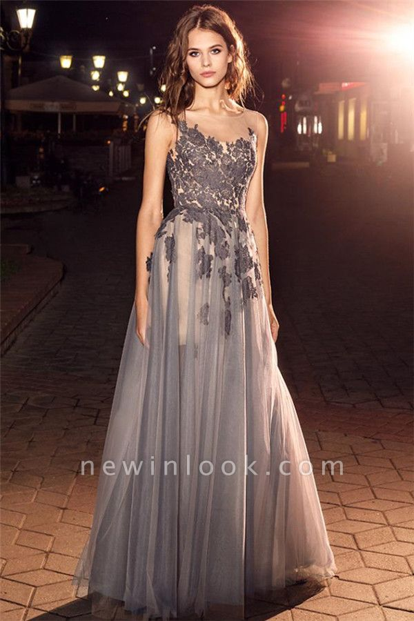 Sheer Tulle Open Back Sleeveless Formal Dresses | Alluring Grey Lace Affordable Banquet Dresses