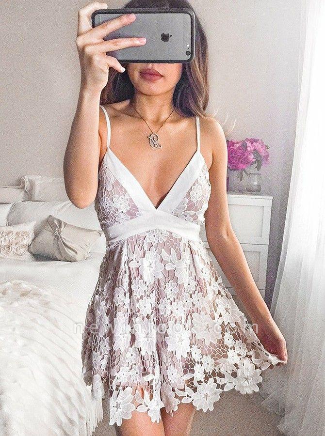 Sexy vestidos de regreso a casa de la correa de espagueti | Vestidos de cóctel de una línea de cuello en V