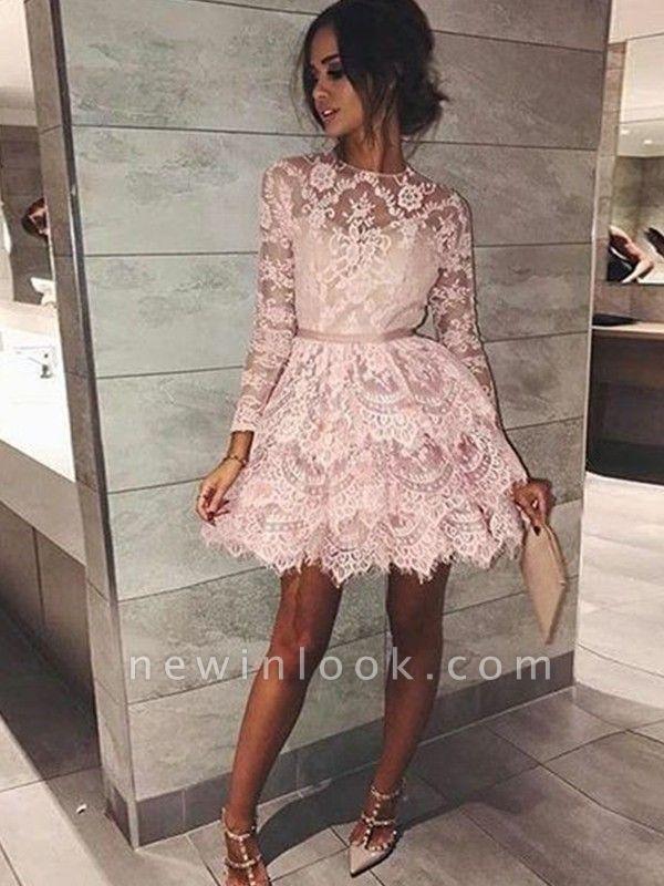 Mangas largas elegantes vestidos de fiesta | Cuello Redondo Rosado una línea de vestidos de cóctel