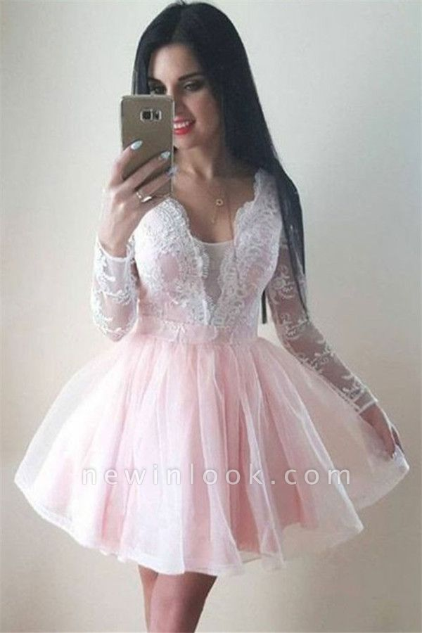 2019 mangas largas vestidos de fiesta rosa | Vestido corto de encaje de una línea de regreso a casa