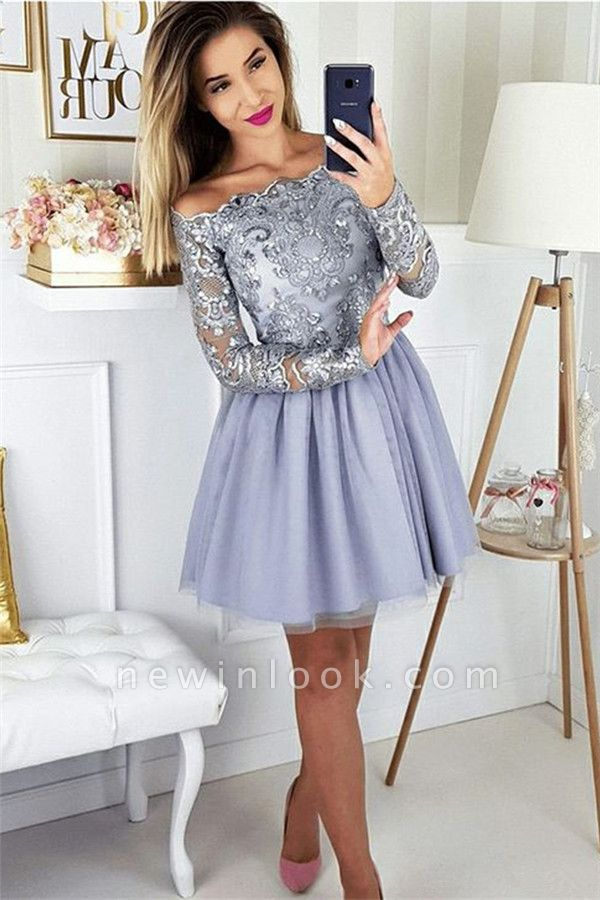 2019 Short Off the Shoulder Quince Dama Dresses | Long Sleeves Lace Dama Dresses Cheap