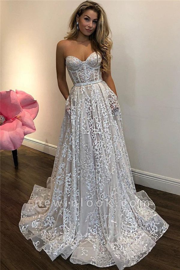 Sparkly Beads Sequins Appliques Alluring Formal Dresses | Sweetheart Sleeveless Affordable Banquet Dresses