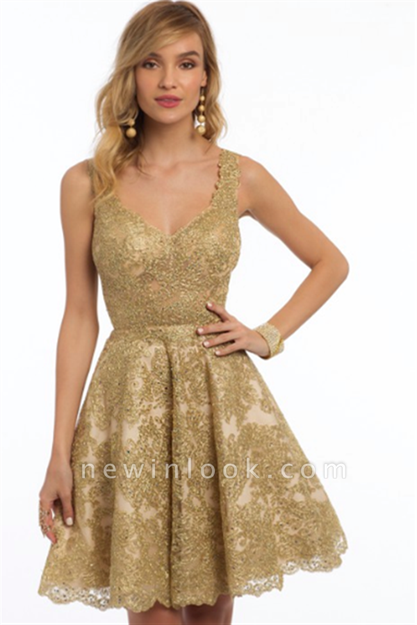 New Arrival Sleeveless Straps Quinceanera Dama Dress | 2019 Gold Lace Appliques Knee-Length Short Dresses