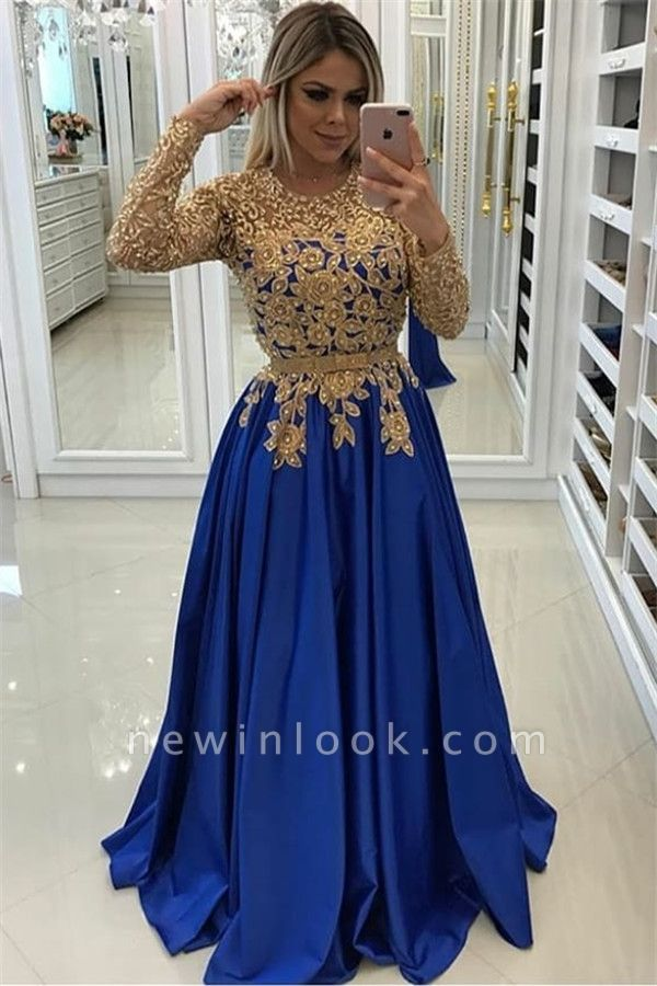 Gold Beads Lace Appliques Evening Dress with Sleeves | Royal Blue Affordable Banquet Dresses