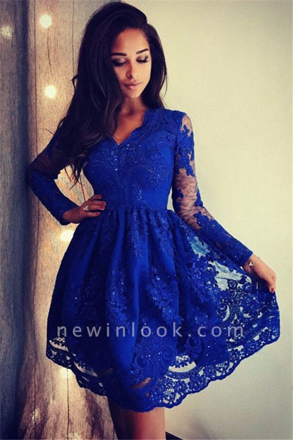 Royal Blue Long Sleeves Sexy V-Neck Dama Dresses 2019 | Cheap Lace Short Dama Dresses
