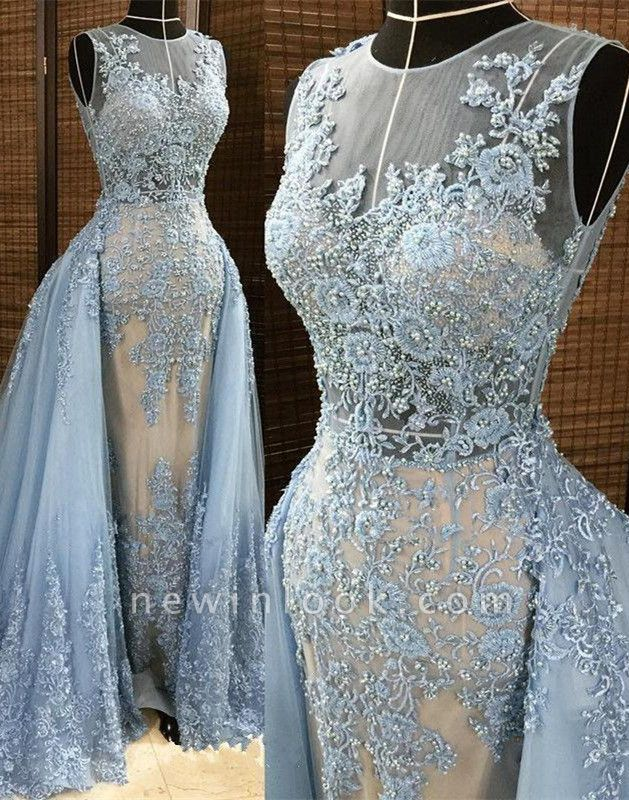 Glamorous Sheath Sleleveless Long Formal Dresses | Lace Appliques Beads Alluring Prom Dress with Overskirt