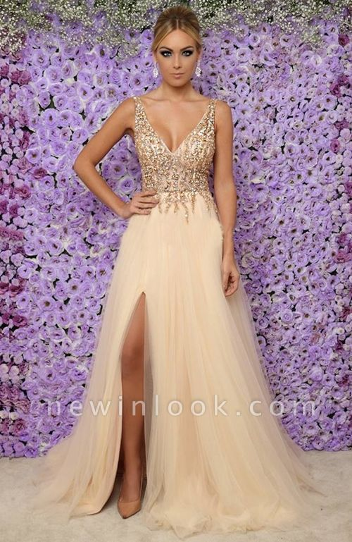 Alluring Sexy V-Neck Sleeveless Long Formal Dresses | Tulle Crystal Side Slit Banquet Dresses Affordable