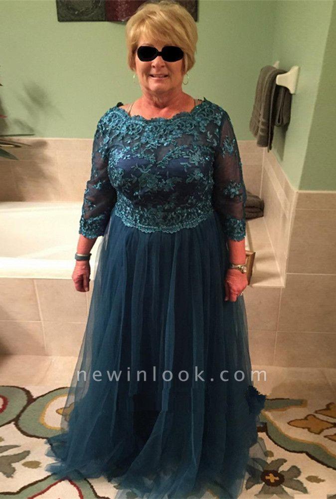Apliques de encaje vestido de madre de la novia | manga larga delicados una línea de tul