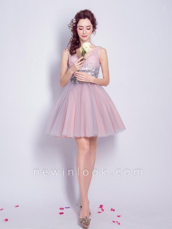 Una línea de lentejuelas vestidos de fiesta corto | con cordones con cuello en v