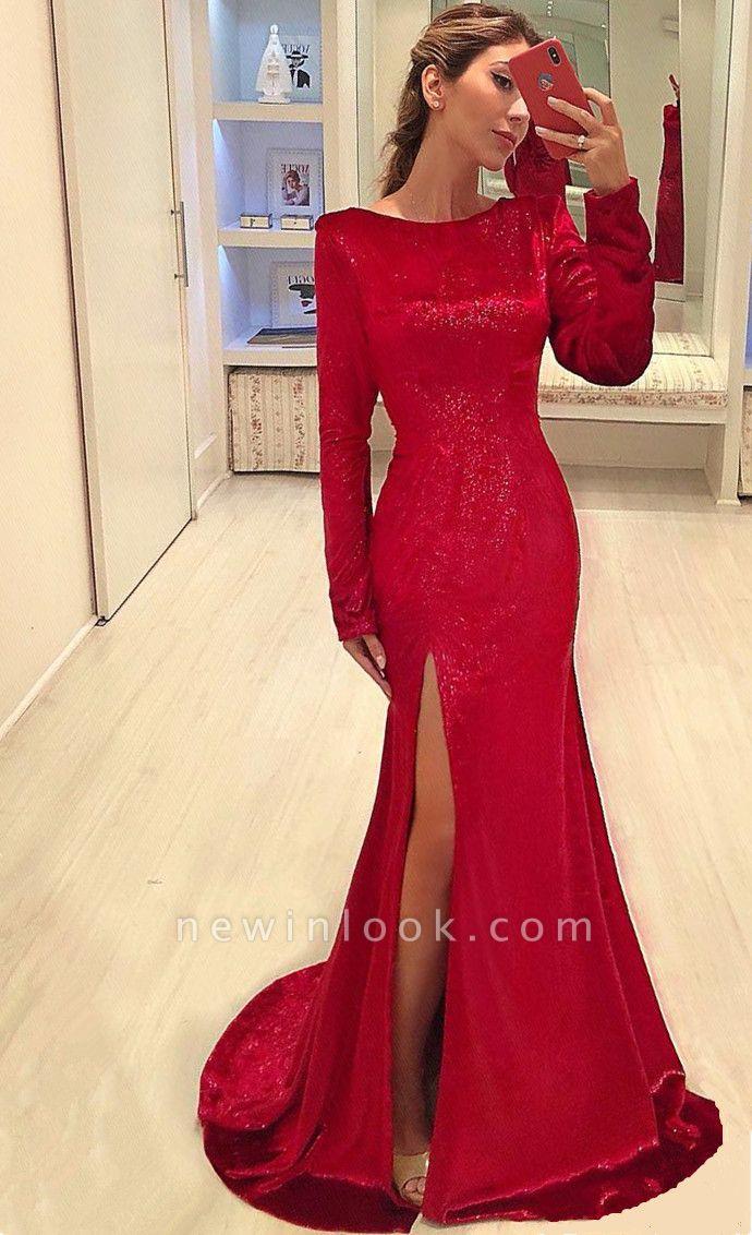 Vestidos de noche de lentejuelas rojas Sexy Lado de la hendidura | Vestidos de fiesta baratos de manga larga 2019