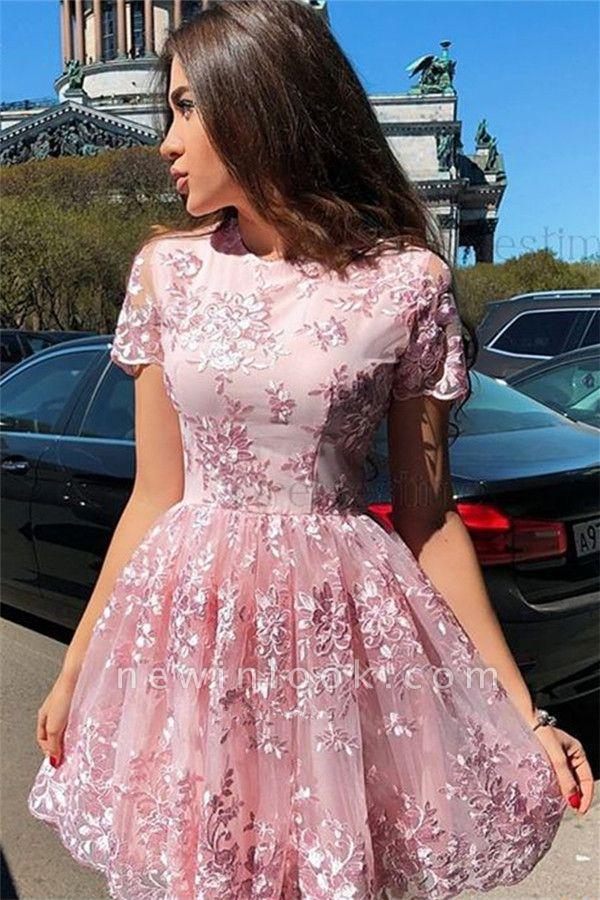 Elegantes mangas cortas de color rosa vestidos del regreso al hogar baratos | Apliques de encaje cortos vestidos hoco