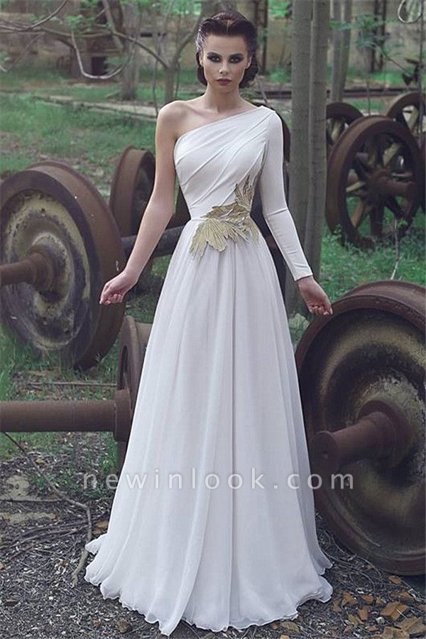 One Shoulder Chiffon Alluring Formal Dresses | Affordable One Sleeve Formal Quinceanera Cheap Evening Dresses Online