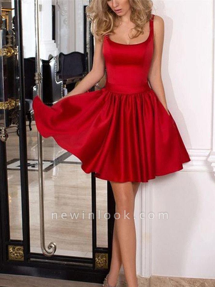 Una línea de Bow Square vestido de regreso a casa | Vestido corto de fiesta de moda