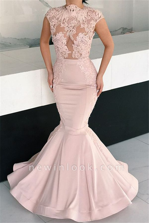 Alluring Pink Mermaid Long Formal Dresses | Cap Sleeves Lace Glamorous Evening Gowns