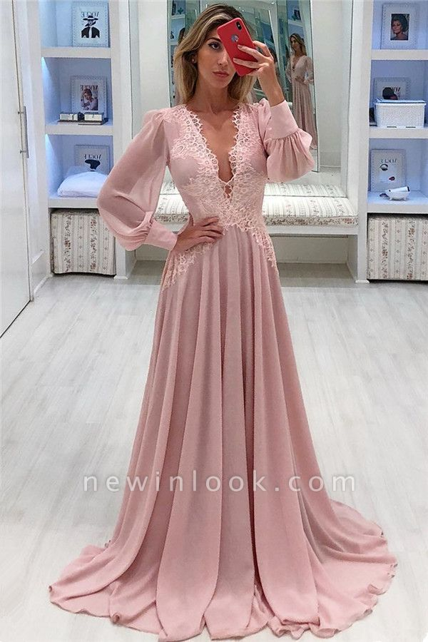 Pink Chiffon Bubble Sleeves Alluring Formal Dresses | Alluring Sexy V-Neck Affordable Formal Dresses