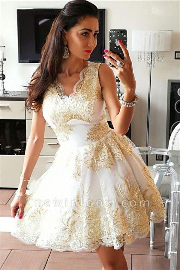 Glamorous Sleeveless Sexy V-Neck Short Dama Dresses | 2019 Gold Appliques Quince Dama Dresses Cheap