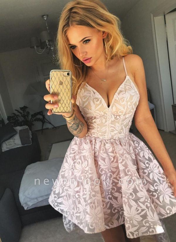 Una línea de vestidos de fiesta florales de color rosa | Vestidos de cóctel de encaje alto-bajo de correas espaguetis