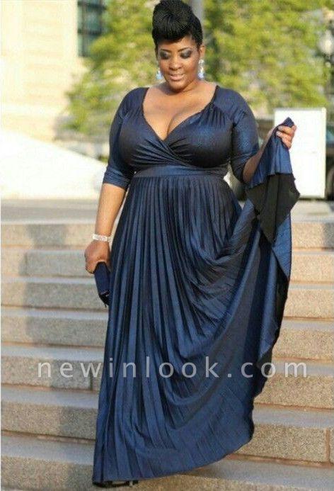 Vestido largo de talla grande para madre   Quincea_era con cuello en V y media manga A-linea