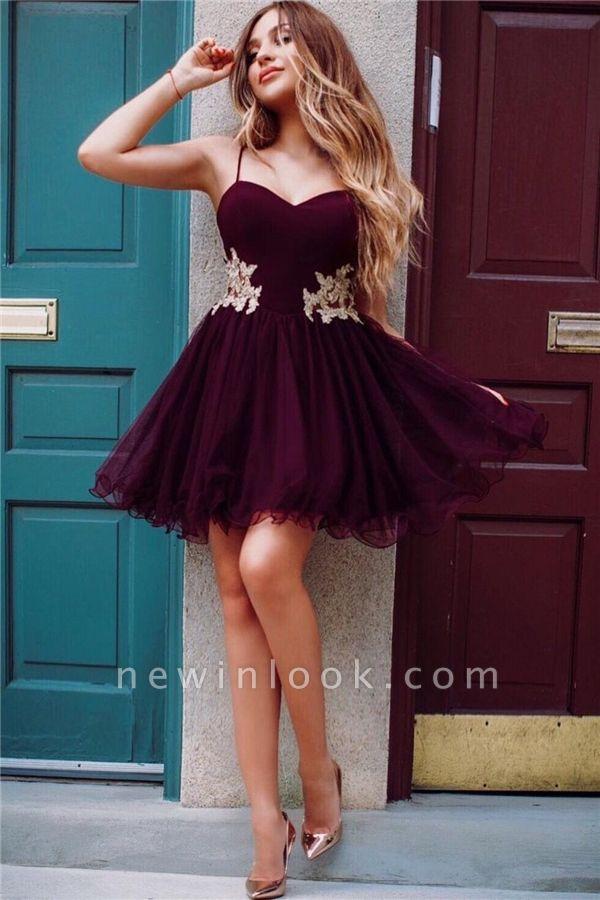 Correas de espagueti borgo_a Homecoming Vestidos baratos en línea | Apliques de encaje dorado 2019 vestidos hoco