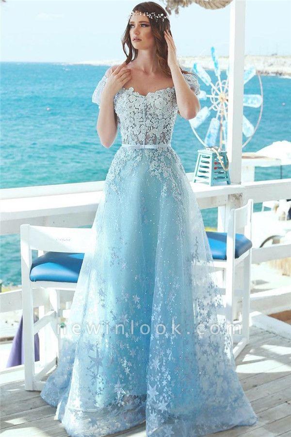 Fuera de hombro Lace Appliques vestidos de baile | Bebe azul baratos vestidos de noche largos 2019