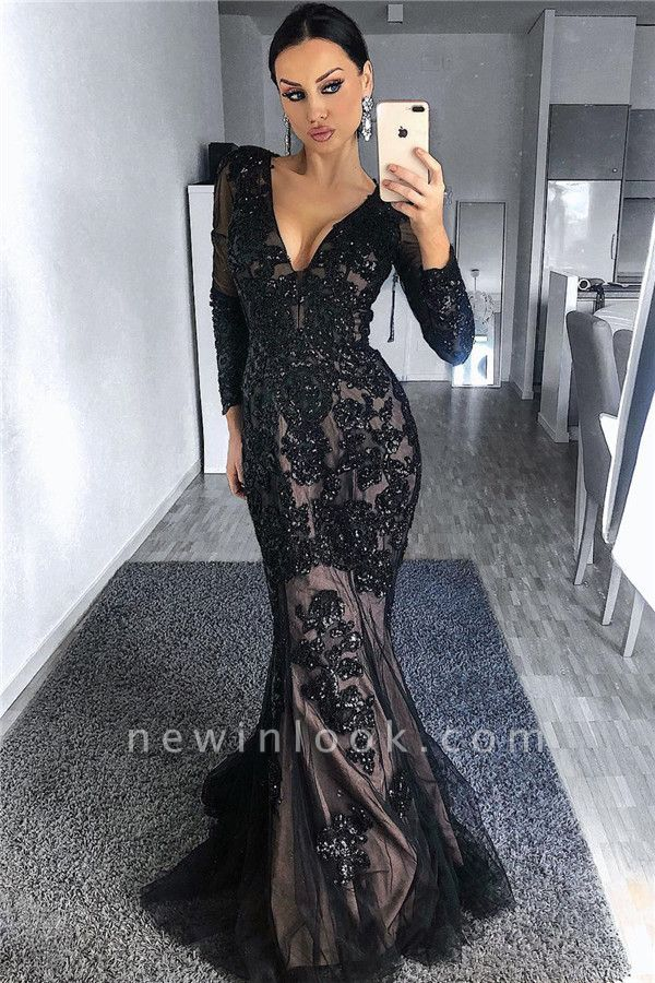 Timeless Black Tulle Nude Lining Formal Dresses with Sleeves | Long Sleeve Beads Appliques Affordable Banquet Dresses