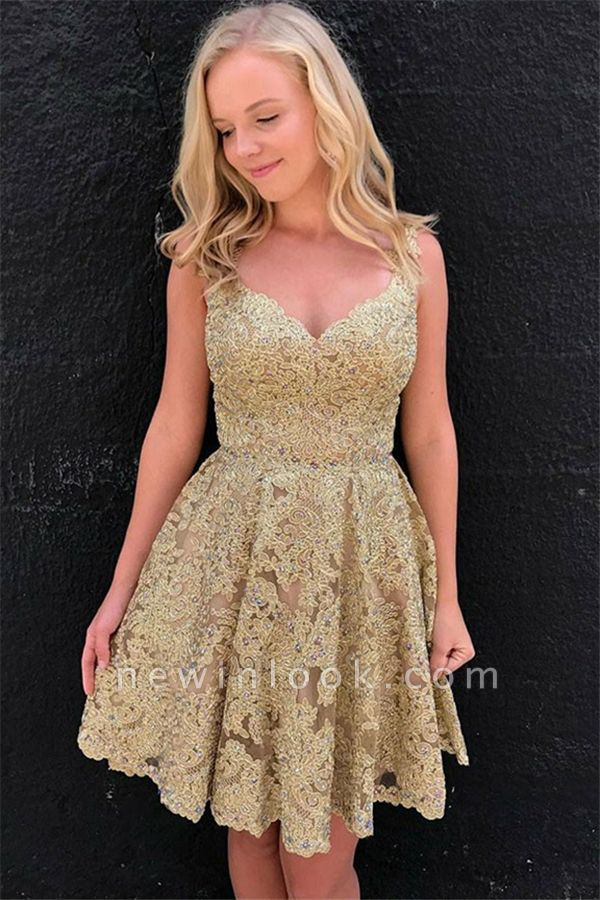Hot Sexy V-Neck Gold Lace Short Dama Dresses Online | Sleeveless Cheap Quince Dama Dresses 2019 bc1897