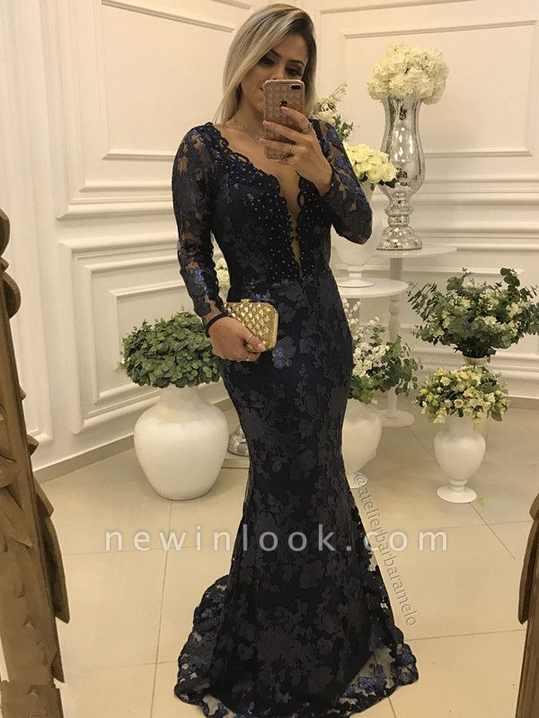 Modern Long Sleeve Mermaid V-neck Lace Zipper Quinceanera Mother Dress