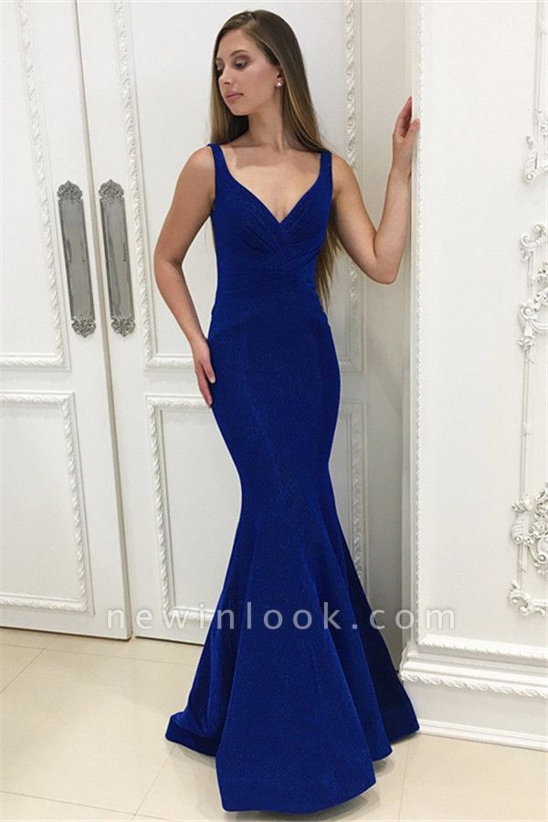 2019 Royal Blue correas vestidos de noche largos | Sirena simple sin mangas vestidos de noche baratos