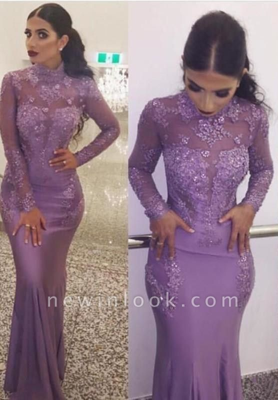 Alluring High Neck Long Sleeves Formal Dresses | Mermaid Appliques Affordable Banquet Dresses