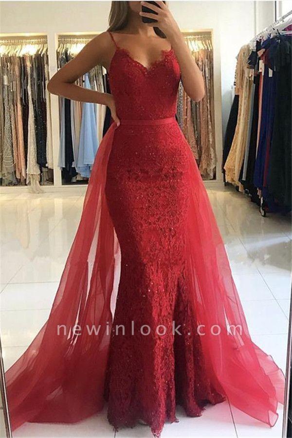 Correas de espagueti rojas de la envoltura | vestidos de noche 2019 De Encaje Sexy Sobre La Falda