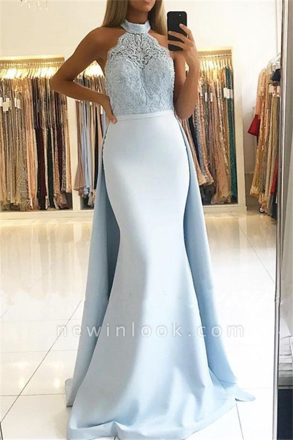 Baby Blue Elegant High Neck Lace Evening Dress | Long Overskirt Mermaid Alluring Party Dress