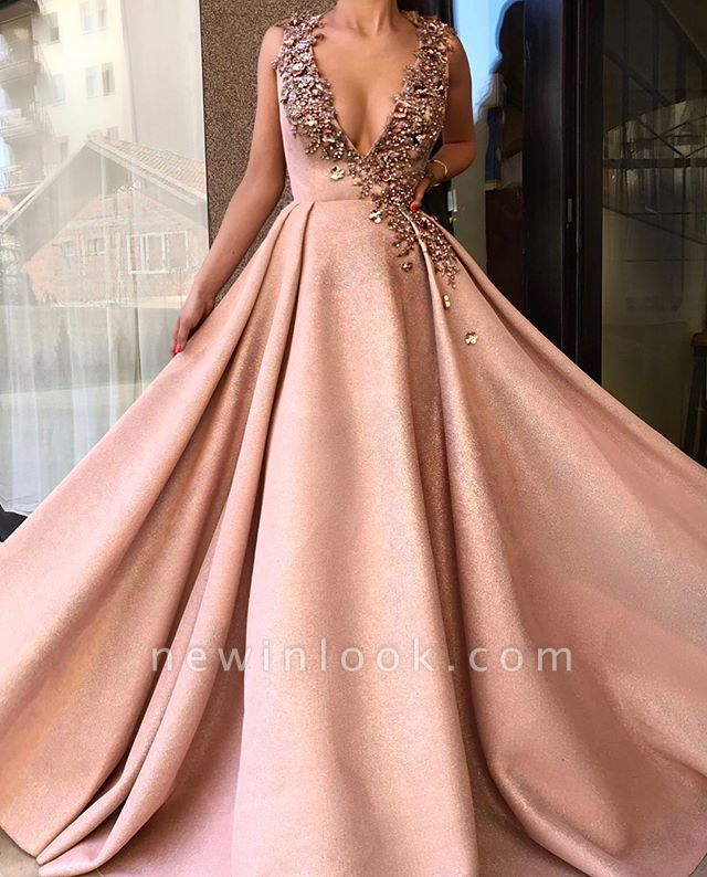 Alluring Plunging V-neck Sleeveless Banquet Dresses | Glamorous A-Line Crystal Formal Dresses Long