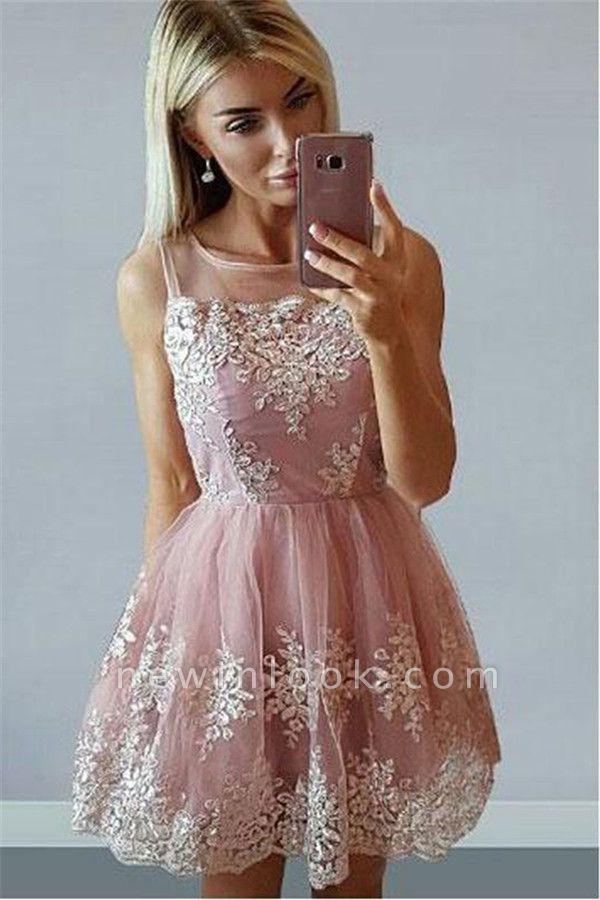 Short Pink Sleeveless Dama Dresses | 2019 Sleeveless Dama Dresses Cheap