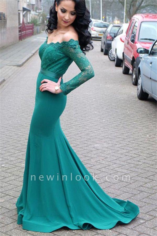 Verde Fuera de hombro mangas largas vestidos de noche en línea | Vestido de noche de encaje sirena barata