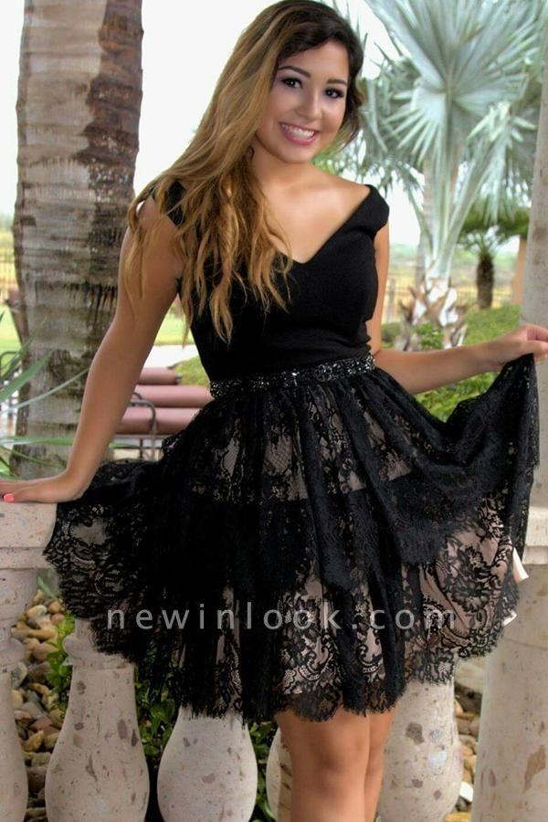 Vestidos de fiesta sin mangas cortos con cuello en V negros | encaje cristalino vestidos de regreso a casa baratos
